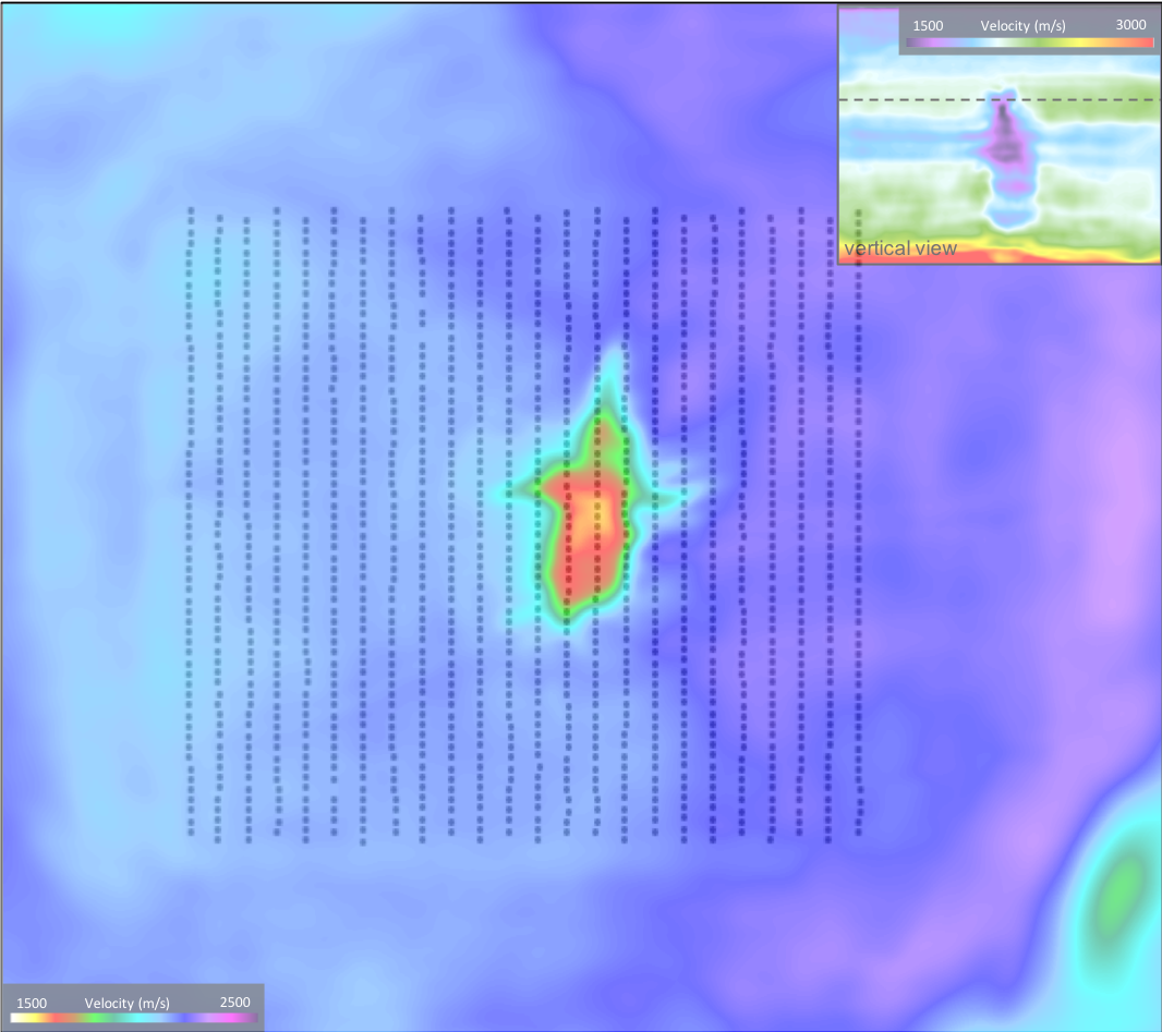 Aerial view through iterated model at depth 1.2km